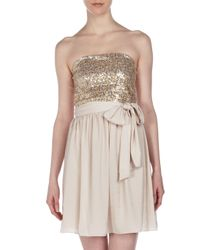 Rebecca Taylor | Natural Beaded Feather Strapless Dress | Lyst