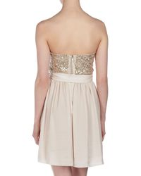 Rebecca Taylor - Natural Beaded Feather Strapless Dress - Lyst