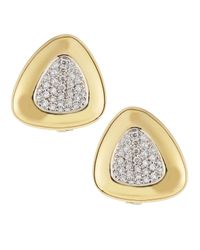 Roberto Coin | Metallic Triangle Diamondcenter Earrings White | Lyst