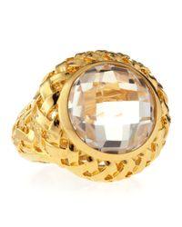Slane - Metallic Crystal Quartz Basket-Weave Medium Ring - Lyst
