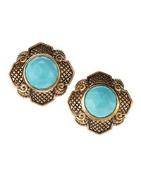 Stephen Dweck | Blue Turquoise Button Clip Earrings | Lyst