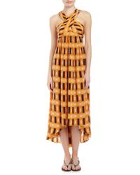 Tracy Reese - Orange Printed Highlow Crisscross Silk Dress Mango 6 - Lyst
