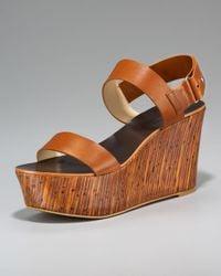 Vera Wang Lavender | Brown Bamboo Wedge Sandal | Lyst