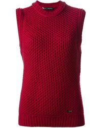 DSquared² | Red Sleeveless Waffle Kit Sweater | Lyst