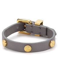 Marc By Marc Jacobs - Gray Turnlock Leather Wrap Bracelet - Lyst