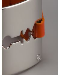 McQ - Orange Leather Razor Bracelet - Lyst