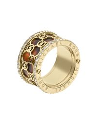 Michael Kors - Metallic Monogram Cut Out Tortoise Ring Golden - Lyst