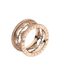 Michael Kors | Pink Monogram Cut Out Ring Rose Golden | Lyst