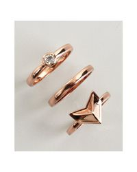 Rebecca Minkoff - Pink Set Of Three Rose Gold Stackable Rings - Lyst