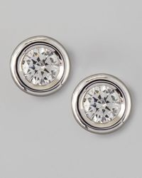 Roberto Coin | 18k White Gold Diamond Solitaire Stud Earrings | Lyst