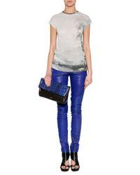 Balmain - Blue Low Rise Leather Biker Pants - Lyst