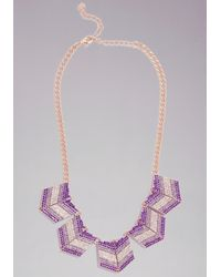 Bebe - Purple Chevron Stone Necklace - Lyst