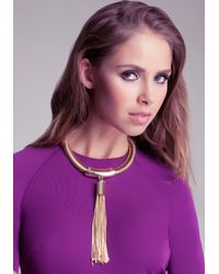Bebe | Metallic Coil Tassel Statement Necklace | Lyst