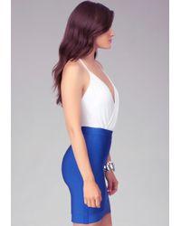 Bebe - White Pleated Front Halter Bodysuit - Lyst