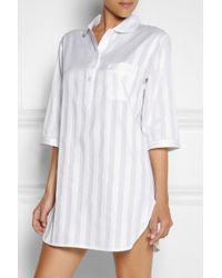 Bodas - White Shadow Stripe Cotton Night shirt - Lyst