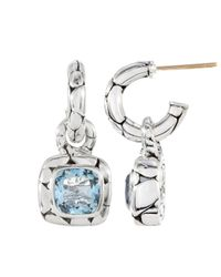 John Hardy | Blue Topaz Square Drop Hoop Earrings | Lyst