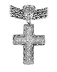 John Hardy | Metallic Diamond Pave Small Cross Enhancer | Lyst