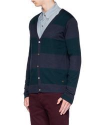 Scotch & Soda - Blue Striped Merino Wool Cardigan for Men - Lyst