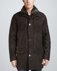 Andrew Marc - Dash Leather Coat with Fur Bib Brown for Men - Lyst
