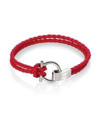 Ferragamo   Red Braided Leather Gancini Bracelet for Men   Lyst
