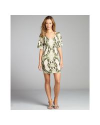 Just Cavalli | Green Snake Printed Jersey Wide Vneck Coverup Dress | Lyst