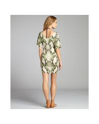 Just Cavalli - Green Snake Printed Jersey Wide Vneck Coverup Dress - Lyst