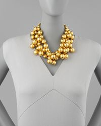 Kenneth Jay Lane - Metallic Golden Beaded Cluster Necklace - Lyst
