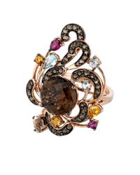 Le Vian | Pink Smoky Quartz And Multi Stone Ring In 14 Kt. Rose Gold | Lyst