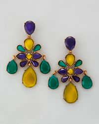 Oscar de la Renta | Multicolor Faceted Chandelier Clipon Earrings | Lyst