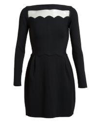 Valentino | Black Scalloped Stretch Knit Dress | Lyst