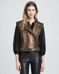 Alice + Olivia - Black Metallic Asymmetric Tweed Vest Alice Olivia - Lyst