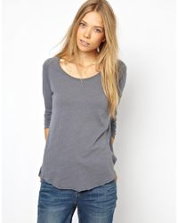American Vintage | Gray Washed Raglan Tee with Raw Edge Detail | Lyst