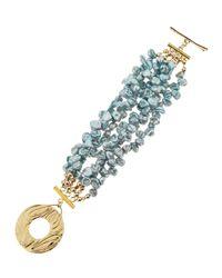 Devon Leigh - Multistrand Freeform Pearl Bracelet Blue - Lyst
