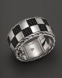 John Hardy - Metallic Classic Chain Poleng Silver Band Ring for Men - Lyst