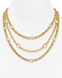 Majorica | Metallic 3row Chain 10mm Round Manmade Pearl Necklace 17 | Lyst