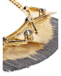 Iosselliani - Metallic Triangles Deco Fringe Necklace - Lyst