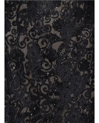 Notte by Marchesa - Black Sequinned Underlay Lace Gown - Lyst