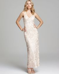 Sue Wong | Natural V Neck Gown Sleeveless | Lyst