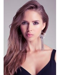 Bebe - Metallic Cutout Fringe Earrings - Lyst