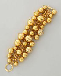 Kenneth Jay Lane - Metallic Golden Beaded Cluster Toggle Bracelet - Lyst