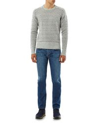 Michael Bastian - Gray Intarsiaknit Crewneck Sweater for Men - Lyst