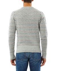Michael Bastian - Gray Intarsiaknit Crewneck Sweater for Men - Lyst