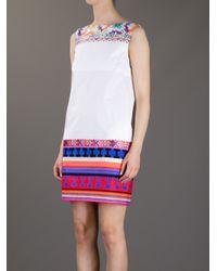 MSGM - White Aztec Print Shift Dress - Lyst