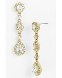 Nadri | Metallic Framed Cubic Zirconia & Crystal Drop Earrings | Lyst
