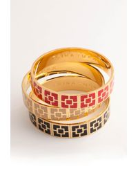 Trina Turk - Metallic Black Enamel Brick Bangle - Lyst