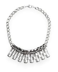 Mango - Metallic Pieces Skull Choker - Lyst