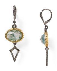 Alexis Bittar | Metallic Jardin De Papillon Leverback Moss Agate Doublet Crystal Fringe Earrings | Lyst