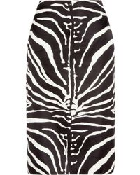 Carven | Black Zebra-print Silk-blend Pencil Skirt | Lyst