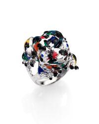 Delfina Delettrez | Black Sterling Silver & Enamel Frog Ring | Lyst