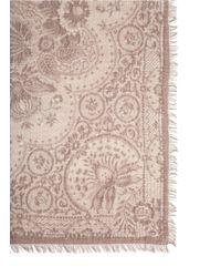 Franco Ferrari - Brown Floral Lace Print Cashmere Scarf - Lyst